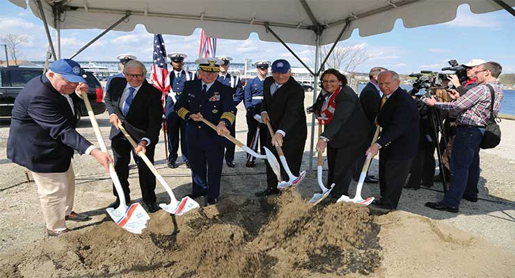 CG347: May 2, 2014: History in the Making National Coast Guard Museum Association board members join Adm. Robert J. Papp, Coast Guard Commandant (center) in letting the ceremonial dirt fly. (l-r) John S. Johnson, Treasurer; James J. Coleman, Jr., Chairman;  Richard J. Grahn, Esq., Secretary; Hon. Catherine W.  Cook and RADM John N. Faigle, USCG (Ret.) CG51: (l-r) Seamen Mockler, Linton, King and Yeacer of the United States Ceremonial Honor Guard stand ready to post the colors. CG90: Coast Guard Commandant Adm. Robert J. Papp Jr. and James J. Coleman, Chairman of the National Coast Guard Museum Association, salute the colors.