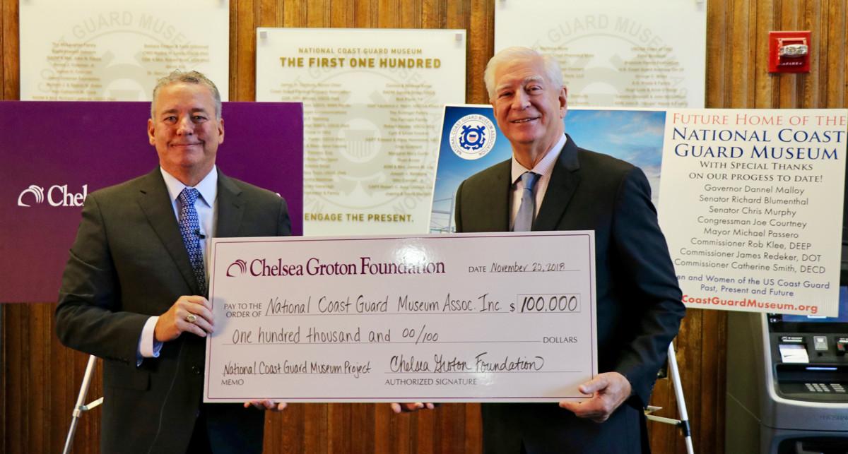 Chelsea Groton Foundation Check Donation to Coast Guard Museum